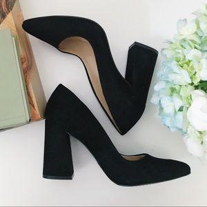 NWOB Vince Camuto Dressy Black Suede Block Heels